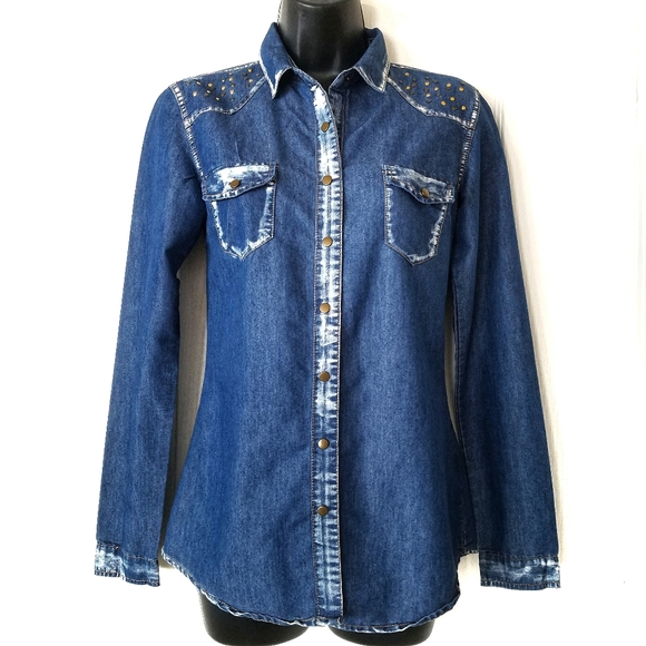 Dream Out Loud bleached studded snap button shirt